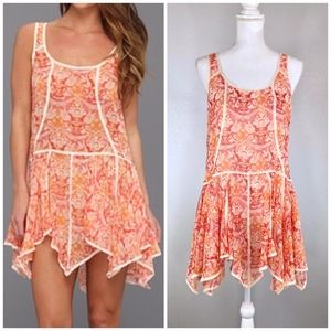 {FREE PEOPLE} Peach Coral Print Trapeze Dress